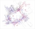 Larissa Fassler - Schlossplatz Research IV - Movements, notes, and footsteps mapped onto site